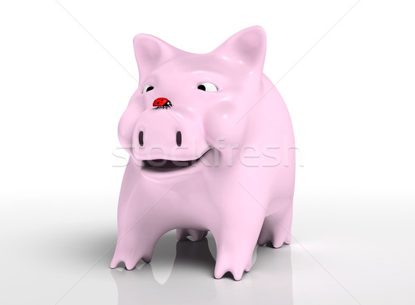 Smiling piggy bank with ladybird on nose Stock photo © TaiChesco