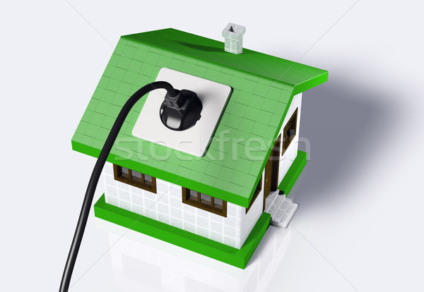 Small house connected to the electric current Stock photo © TaiChesco