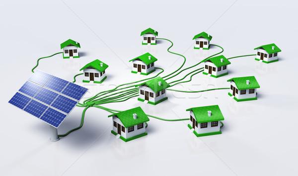 Zonnepanelen huizen klein huizen groene Stockfoto © TaiChesco