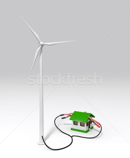 Rüzgâr jeneratör küçük ev enerji iki Stok fotoğraf © TaiChesco