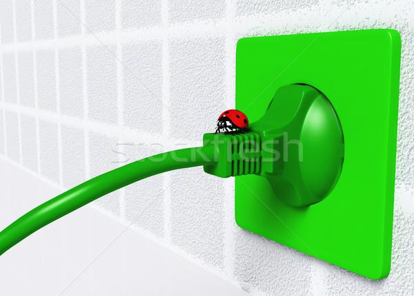 Ladybug on ecological plug Stock photo © TaiChesco