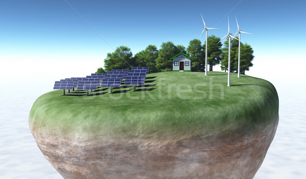 Ecological generators on top of a terrain Stock photo © TaiChesco