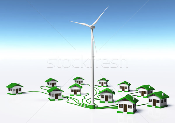 Wind generator supplys the houses Stock photo © TaiChesco