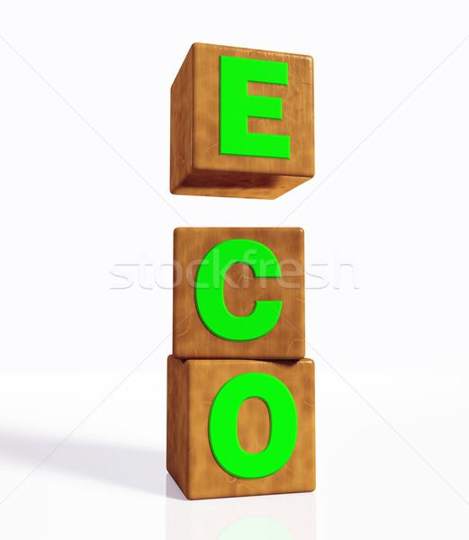 Эко слово три вертикальный зеленый Сток-фото © TaiChesco