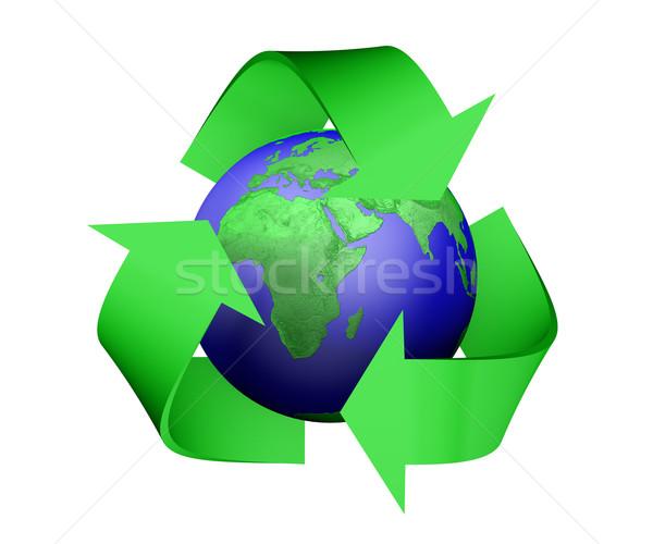 Reciclar ícone terra 3D verde Foto stock © TaiChesco