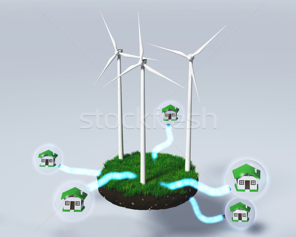 Wind generators supply houses Stock photo © TaiChesco