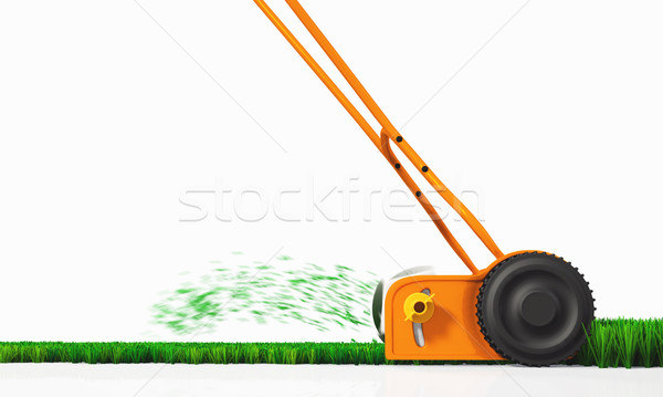 A side view of a push lawn mower at work Stock photo © TaiChesco