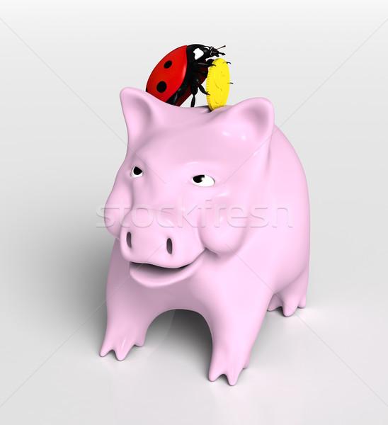 Uğur böceği para görmek uğur böceği üst kumbara Stok fotoğraf © TaiChesco
