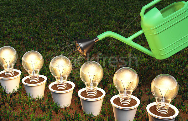 Row of light bulbs in pots is watered Stock photo © TaiChesco