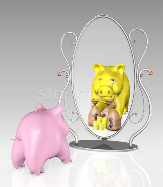piggy bank is in front of a mirror Stock photo © TaiChesco