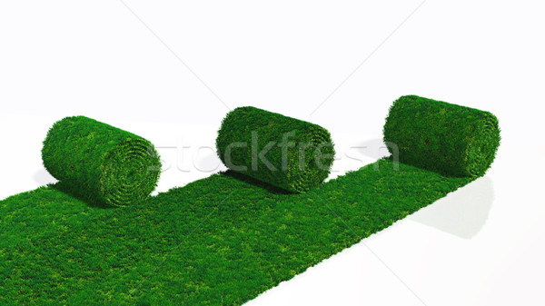 three rolls of grass carpet Stock photo © TaiChesco