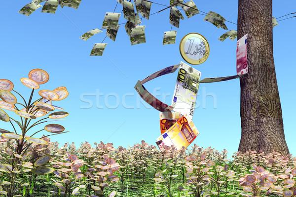 Euro homem árvore notas moeda Foto stock © TaiChesco