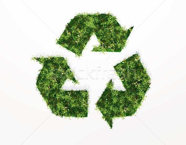 Сток-фото: рециркуляции · символ · покрытый · трава · цветы · Top
