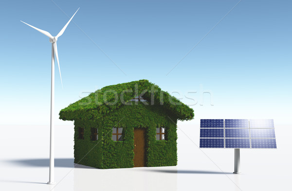 Grassy house with clean energy Stock photo © TaiChesco