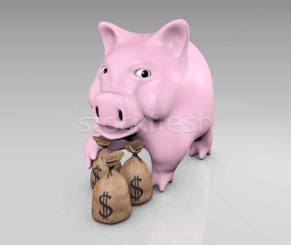мешки деньги счастливым розовый ногу Сток-фото © TaiChesco