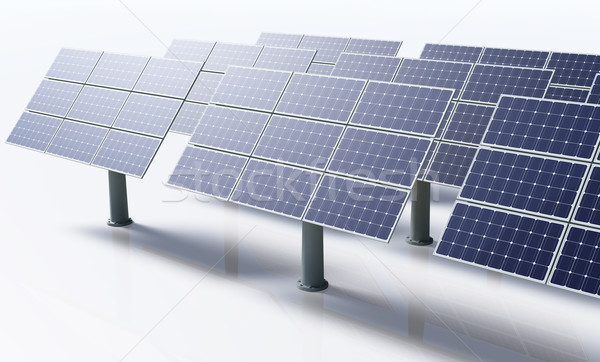 Solar panels in a white background Stock photo © TaiChesco