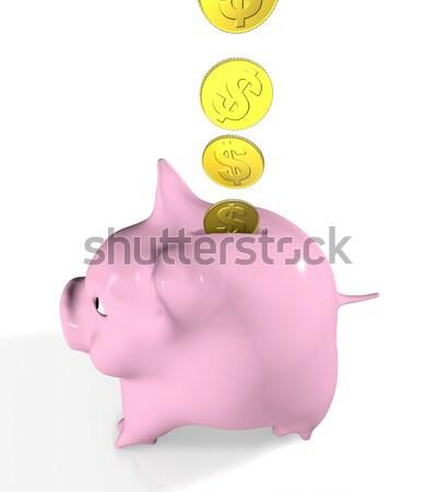 Bir euro mutlu pembe yandan görünüş Stok fotoğraf © TaiChesco