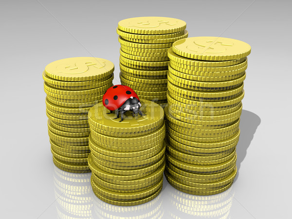 Ladybug монетами четыре различный Сток-фото © TaiChesco
