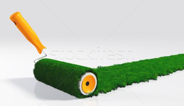塗料 草で覆われた オレンジ ハンドル 絵画 白 ストックフォト © TaiChesco