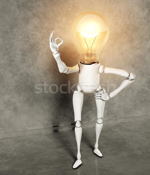 Lámpara carácter pie bombilla luz Foto stock © TaiChesco