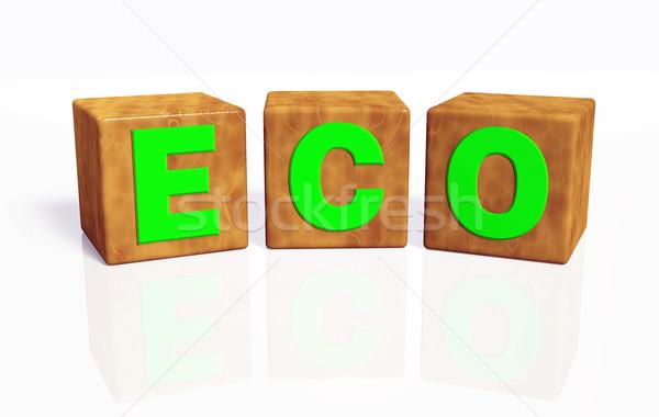 Эко слово три зеленый письма Сток-фото © TaiChesco