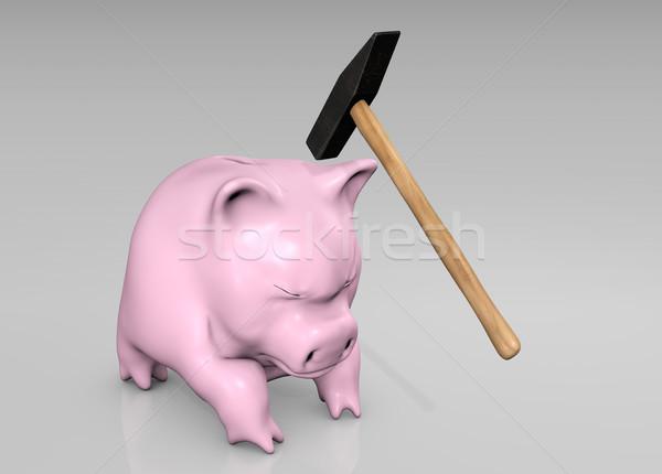 Pauze bang roze hoofd Stockfoto © TaiChesco
