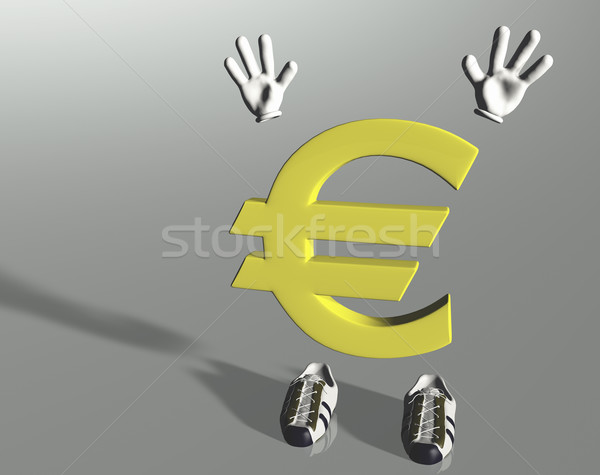 Hands up euro symbol character Stock photo © TaiChesco