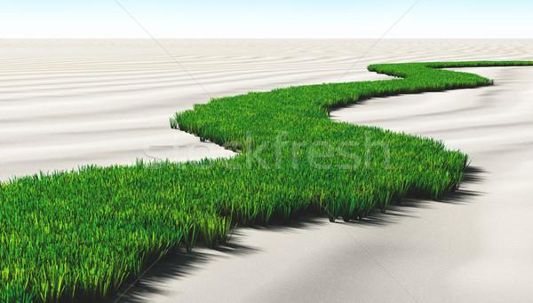çimenli yol kum çim çöl bilinmeyen Stok fotoğraf © TaiChesco