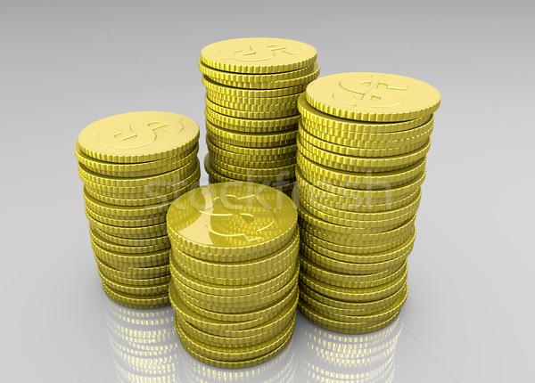 Dört madeni para parlak altın farklı Stok fotoğraf © TaiChesco