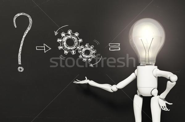 Lamba karakter çözüm ayakta ampul ışık Stok fotoğraf © TaiChesco