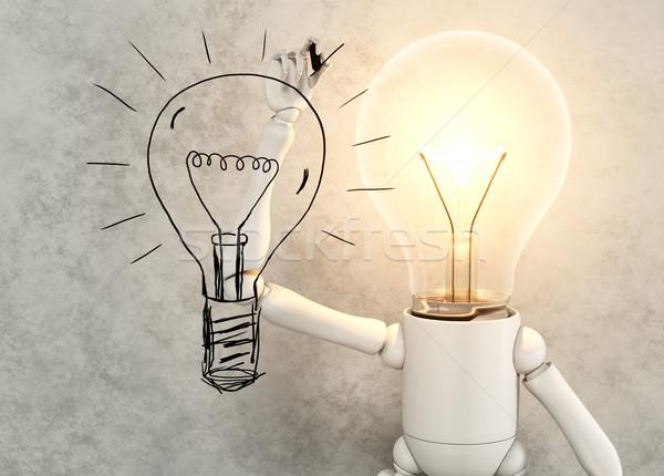 лампы характер рисунок лампа свет черный Сток-фото © TaiChesco