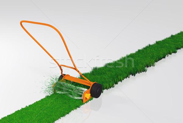 Lökés fűnyíró dolgozik narancs vág fű Stock fotó © TaiChesco
