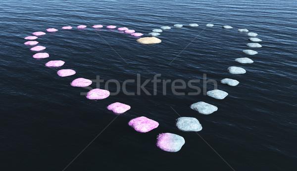 Kalp taşlar su yol biçim üzerinde Stok fotoğraf © TaiChesco