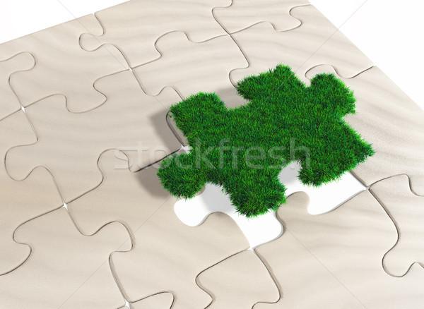 Quebra-cabeça peça grama último desaparecido campo Foto stock © TaiChesco