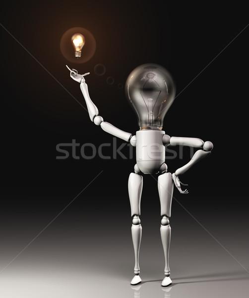 Lâmpada idéia em pé novo solução Foto stock © TaiChesco