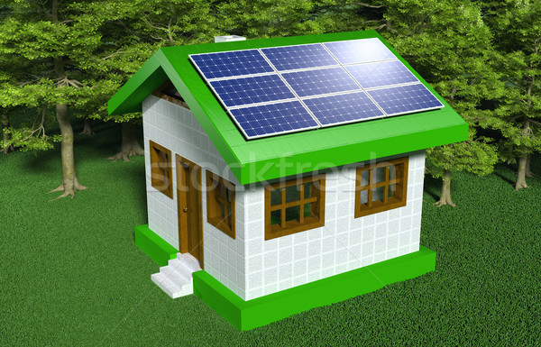 Small house with solar panels Stock photo © TaiChesco