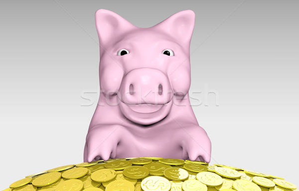pink piggy is smiling over a pile of coins Stock photo © TaiChesco