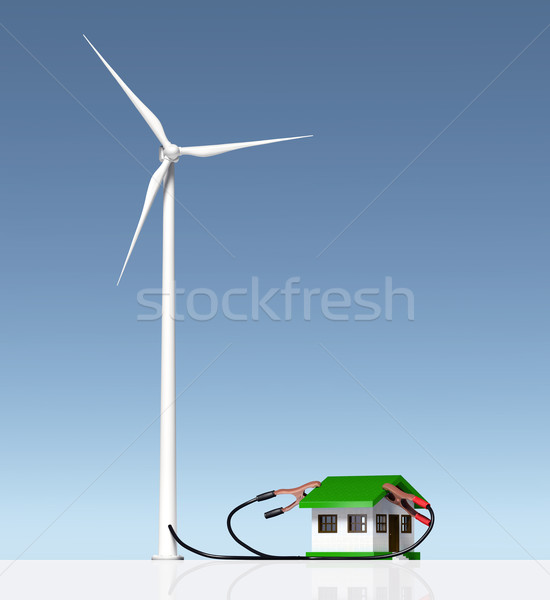 Wind generator supplies a small house Stock photo © TaiChesco