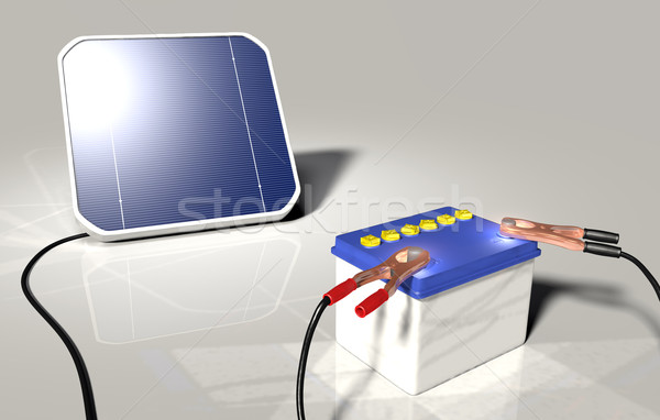 Solar panel charges a car battery Stock photo © TaiChesco