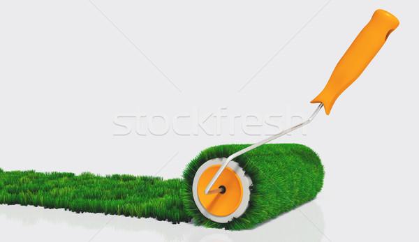 краской травянистый оранжевый обрабатывать Живопись Сток-фото © TaiChesco