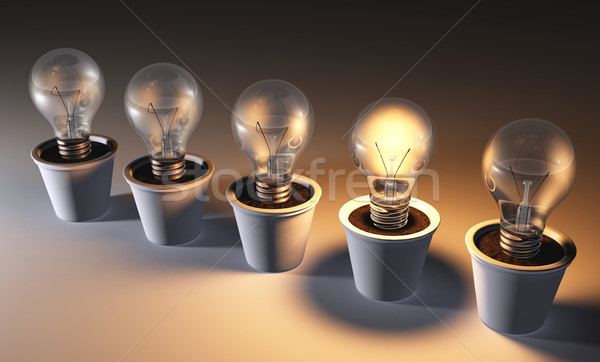 Row of light bulbs in pots Stock photo © TaiChesco