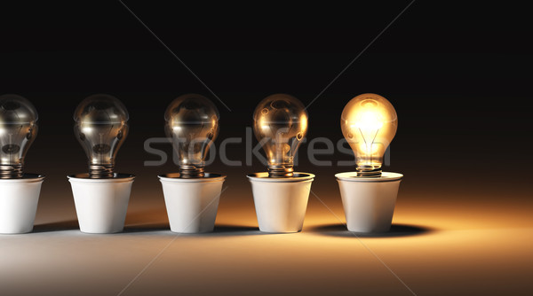 Row of light bulbs in vases Stock photo © TaiChesco