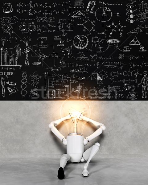 Lámpara carácter muchos soluciones sentado Foto stock © TaiChesco