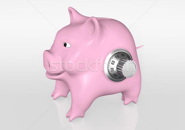 Alcancía combinación feliz rosa metal Foto stock © TaiChesco