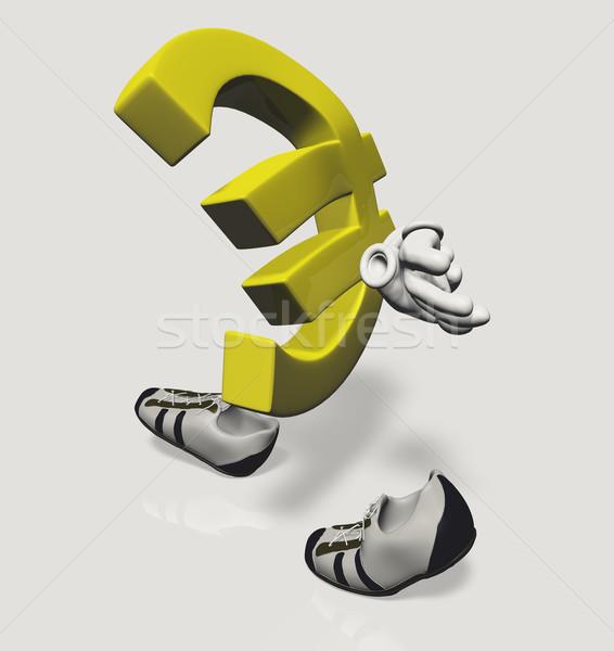 Euro símbolo triste andar caminhada Foto stock © TaiChesco