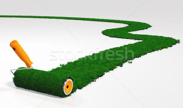 Boya çimenli yol turuncu işlemek boyama Stok fotoğraf © TaiChesco