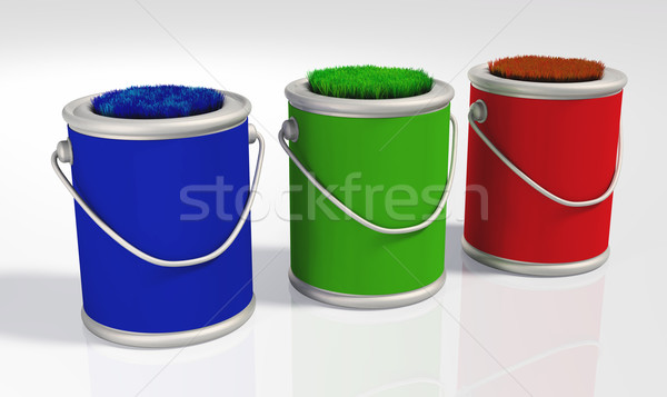 three grassy colored  pots Stock photo © TaiChesco