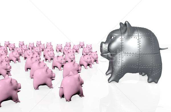 Büyük domuz kumbara klasik pembe Stok fotoğraf © TaiChesco