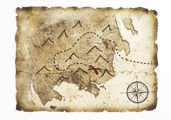 старые Карта сокровищ лист Ложь белый Сток-фото © TaiChesco