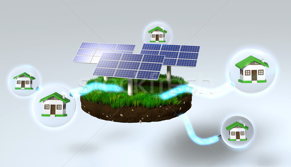 Solar panels supply houses Stock photo © TaiChesco